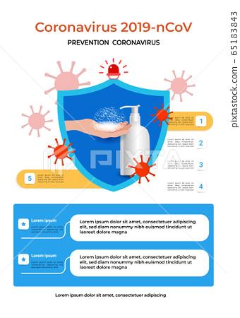코로나 바이러스  증상 밎 예방 포스터 65183843