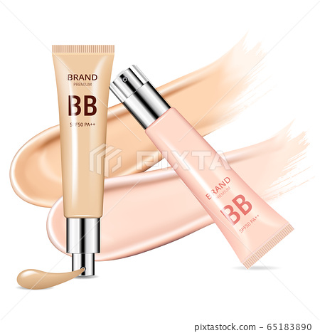 Reality cosmetic tube with beige foundation on white background. Cosmetic brand advertising concept design 65183890