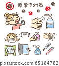 Infectious disease countermeasure illustration, hand washing, alcohol disinfection 65184782