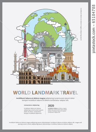 The World Landmark Travel Poster Design Template Vector Illustration  65184788