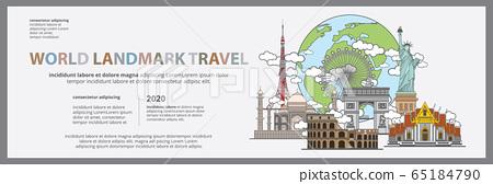 The World Landmark Travel Banner, Billboard Design Template Vector Illustration 65184790
