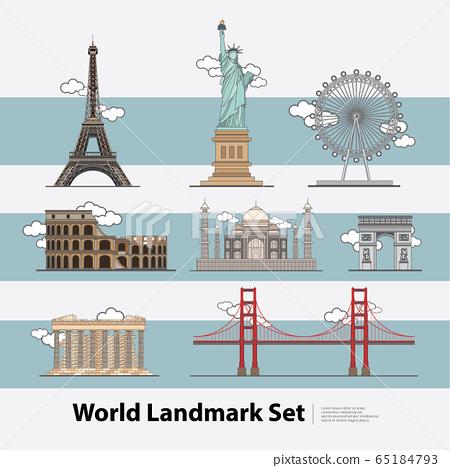 The World Landmark Travel set Vector Illustration  65184793
