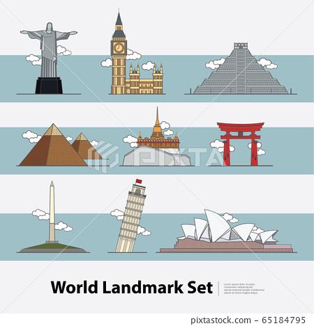 The World Landmark Travel set Vector Illustration  65184795