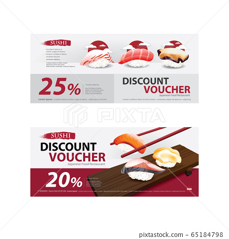 Japanese Food Voucher Discount Template Vector illustration 65184798