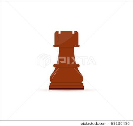 Chess icon of rook. Isolated on white background. leisure sport symbol. Vector illustration. 65186456