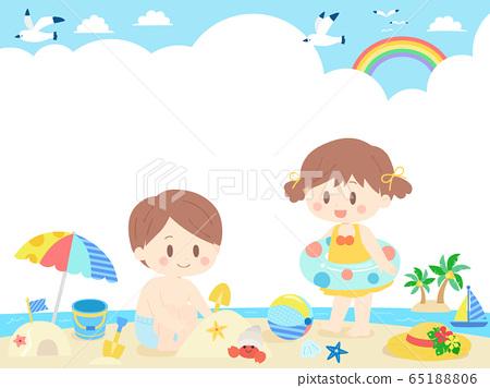 어린이 바다의 날 프레임 / 배경 65188806