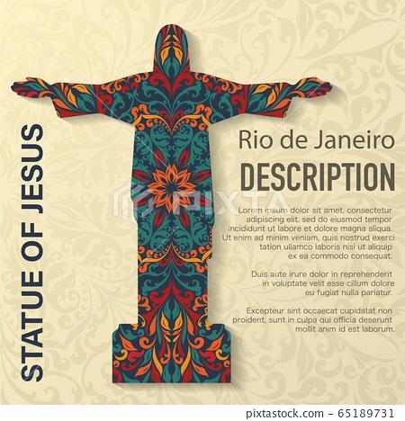 Statue of Jesus floral pattern background 65189731