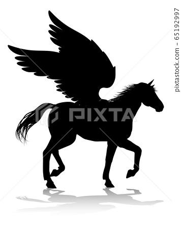 Pegasus Silhouette Mythological Winged Horse 65192997