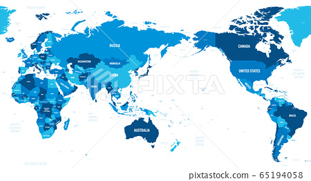 World map - Asia, Australia and Pacific Ocean centered. Green hue colored on dark background. High detailed political map of World with country, capital, ocean and sea names labeling 65194058