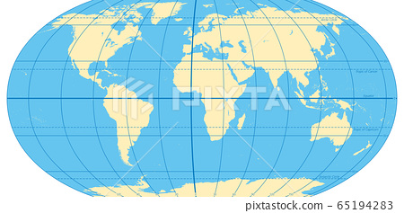 World map with most important circles of latitudes and longitudes, showing Equator, Greenwich meridian, Arctic and Antarctic Circle, Tropic of Cancer and Capricorn. English. Illustration. Vector. 65194283