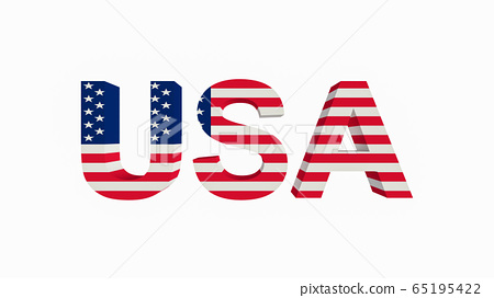 United States of America national flag with text 65195422