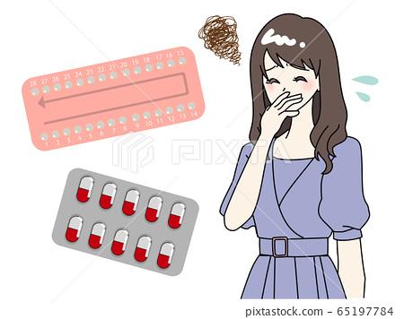 약물의 부작용으로 고통받는 여성 65197784