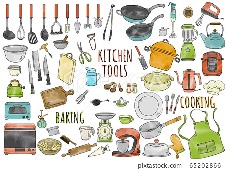 Hand drawn illustration: kitchen tools watercolor color 65202866