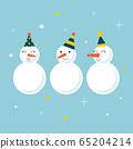 Snowmen. Cartoon illustration in Christmas style. Vector. 65204214