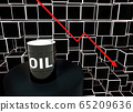 3d Rendered. Concept of falling market in oil industry with with downward graphics and oil barrel 65209636