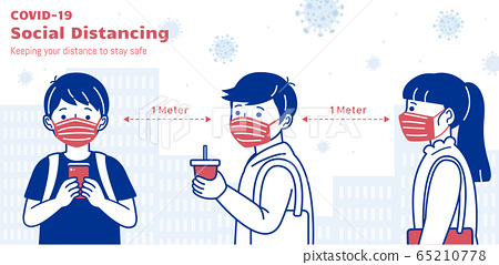 Social distancing banner 65210778