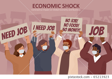 Jobless people holding protest sign 65213923