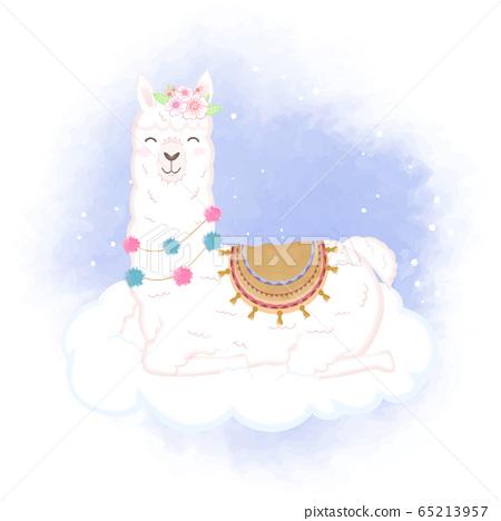 Cute Llama on cloud hand drawn cartoon watercolor 65213957