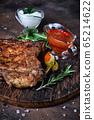 Pork Meat Chop Cooked on dark background 65214622