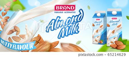 Nutritious almond milk banner ads 65214629