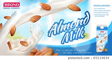 Nutritious almond milk banner ads 65214634