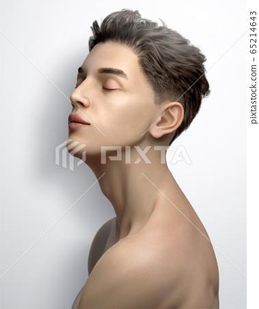 Handsome chin up man 65214643