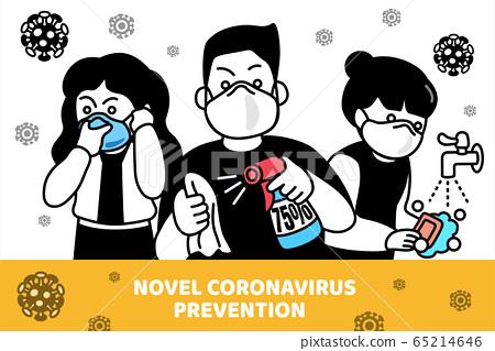 Comic style Covid-19 prevention 65214646