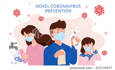 Comic style Covid-19 prevention 65214647