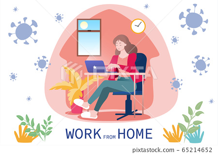 COVID-19 woman works from home 65214652