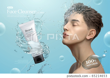 Man's facial cleanser ads 65214653