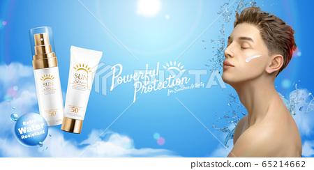 Sunscreen cream and spray ads 65214662