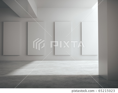 Empty space for product showcase, white hall, white structure, white showroom.3D rendering. 65215023