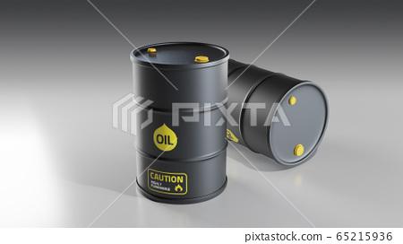 現實的白色背景黑油桶3d圖 65215936