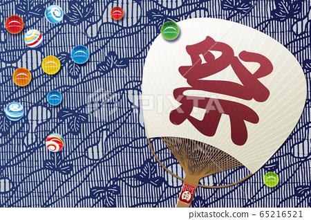 일본식 구슬과 부채의 일러스트 65216521