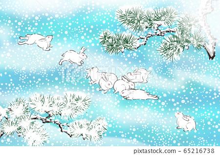 일본식 눈과 토끼의 일러스트 65216738