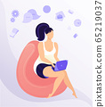 Work from home workplace concept design. Remote work. Happy young woman working on laptop, dressed in home clothes. Flat vector illustration isolated on white background. 65219037