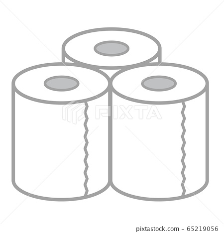 Illustration of three toilet paper lined up 65219056