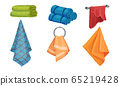 Different Hanging and Folded Towels for Kitchen and Bathroom Vector Set 65219428