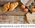 Freshly baked  French croissant bakery and egg 65223569