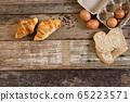 Freshly baked  French croissant bakery and egg 65223571