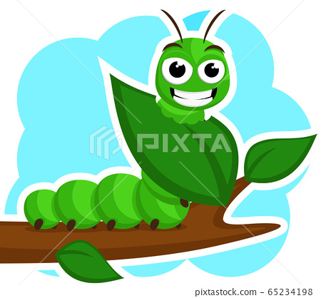 A caterpillar smiles and eats a green leaf on a 65234198