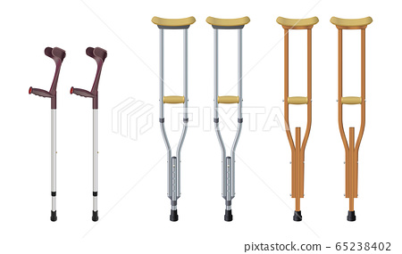 Set of crutches. Elbow crutch, telescopic metal crutch, wooden crutch. Medical equipment for rehabilitation of people with diseases of musculoskeletal system. Isolated objects. Vector illustrations. 65238402