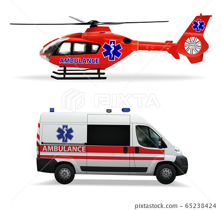 Ambulance helicopter and ambulance car. air and ground transportation to transport injured and sick people to the hospital. Isolated objects on white background. Vector illustration. 65238424