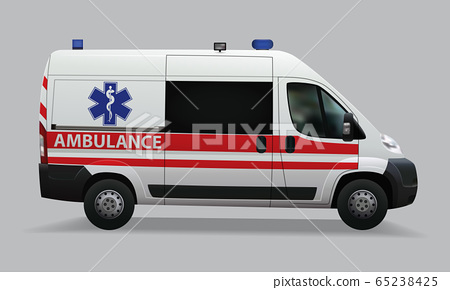Ambulance. Special medical vehicles. Realistic image. Vector illustrations 65238425