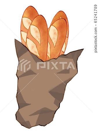 插圖法式麵包放在袋子裡 65241789