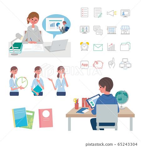 태블릿에서 공부를하는 어린이 온라인 수업 온라인 학습 일러스트 세트 65243304