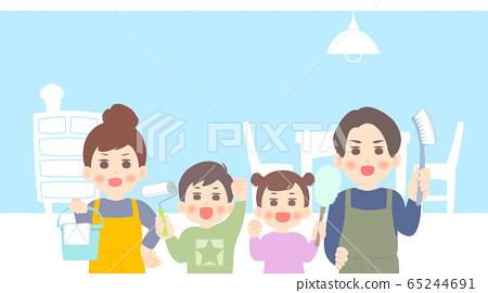가족으로 청소 - 대청소 실내 배경 배너 하늘색 파랑 계 65244691