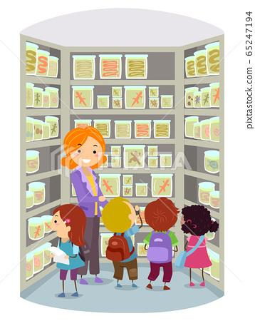 Stickman Kids Herpetology Lab Tour Illustration 65247194