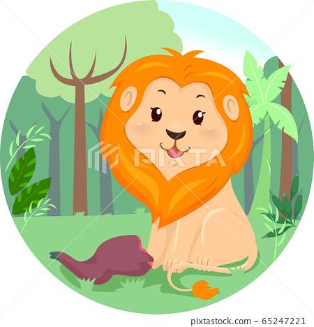 Lion Jungle Meat Illustration 65247221