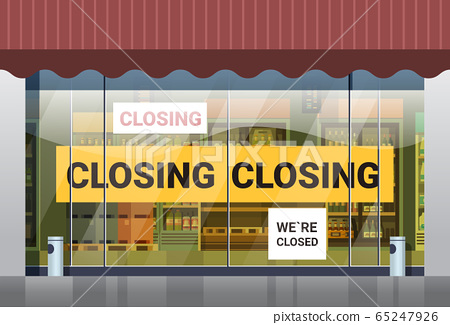 empty supermarket with yellow closing tape coronavirus pandemic quarantine covid-19 concept 65247926